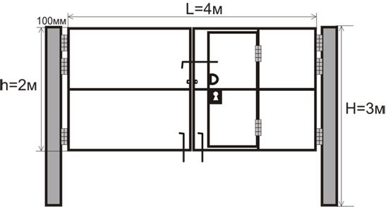 Схематичное изображение ворот сщ встроенной калиткой