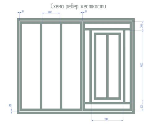 Составляем схему ворот с ребрами жесткости
